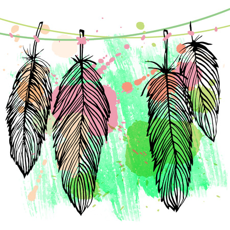 navajo: Colorful watercolor black outline feather vector set, grunge style illustration