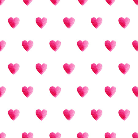 Pink watercolor heart shape seamless vector pattern, simple isolated background on white background Vector