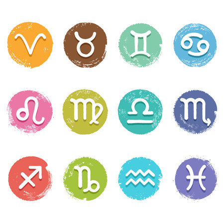 Colorful isolated vector horoscope icon set in grunge crayon style, white color astrology simbols Vector