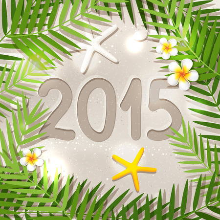 2015 New Year in tropical place, illustration of travel on New Year holiday, white sand beach, starfish,  frangipani flowers and palm tree leaves Vector