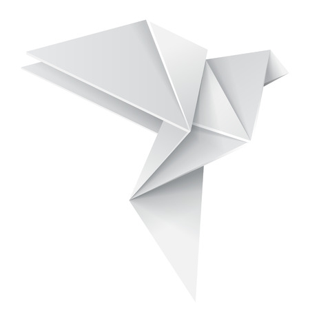 3d dove: Origami white paper dove, vector isolated 3d realistic object