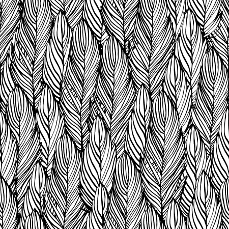 Outline hand draw feather seamless pattern, black and white colored design background