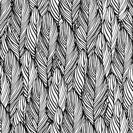 Schets hand trekt veer naadloze patroon, zwart en wit gekleurde ontwerp achtergrond