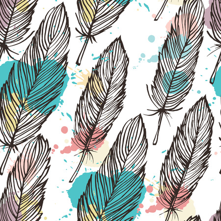 feathery: Pastel colored feather seamless background, vector pattern