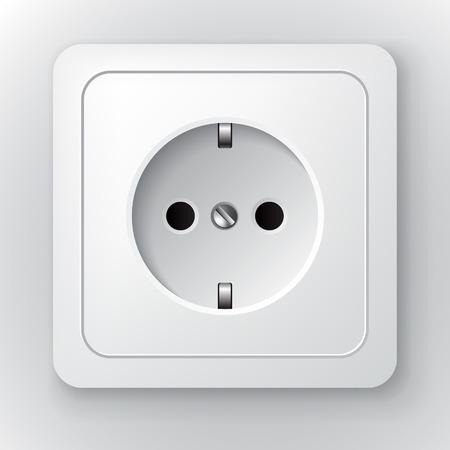 Europe type white vector power socket illustration