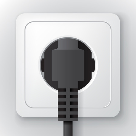 electrical cable: White plastic power socket with black plug on the wall, clear 3d illustration