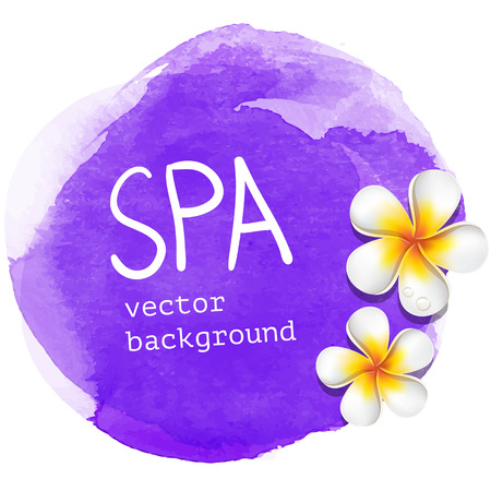 frangipani: Purple watercolor spa vector background illustration with white asian exotic frangipani flowers