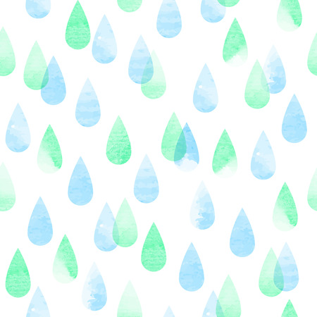 pastel colored: Rainy abstract watercolor seamless vector pattern, rain pastel colored aquarelle isolated background