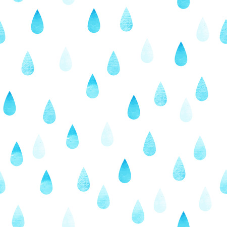 rain drop: Rain blue seamless vector watercolor pattern, rainy isolated background