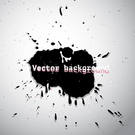 Black vector blot in grunge style on background, decoration design element for poster or banner