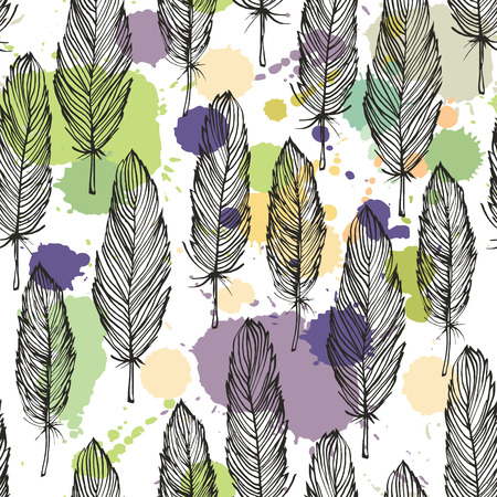 Spotted colored feather seamless pattern, vector background  Vector