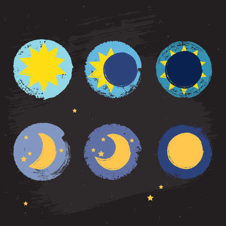 phases: Sun moon vector crayon style icon set, grunge illustration with eclipse, stars and fool moon sign