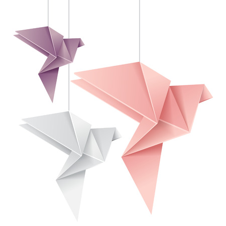 crane origami: Three hanging pastel colored doves, isolated vector illustration Illustration