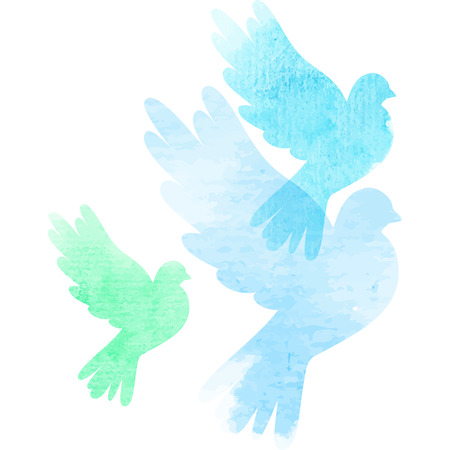 Three vector watercolor isolated doves
