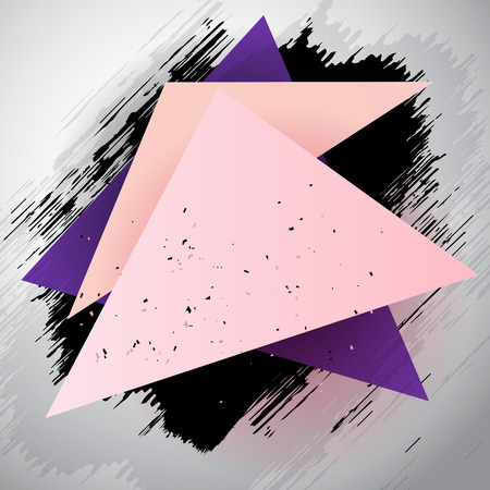 Triangle abstract vector grunge background in gray, pink and purple colors Ilustração