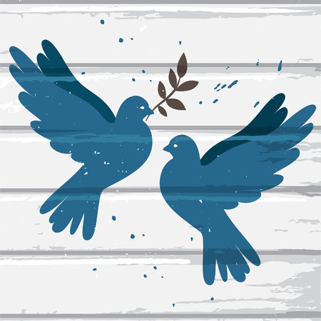 olive branch: Two vector blue doves on white wood background, postcard for international peace day