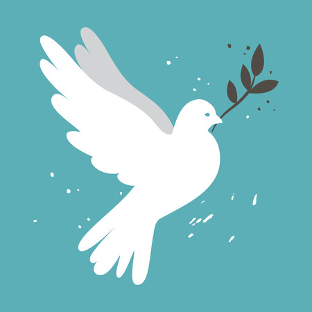 White simple vector dove on blue background illustration for international peace day