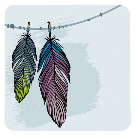 american dream: Two winter feather vector illustration, blue and purple black outline feathers hanging on thread with grunge dust background  Illustration