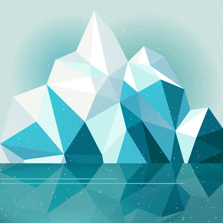 Winter vector mountain nature landscape illustration background, snow mountain with lake and sky Vector