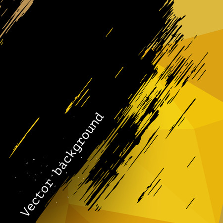 Yellow abstract vector triangle geometric background with grunge black brush stain, backdrop for design