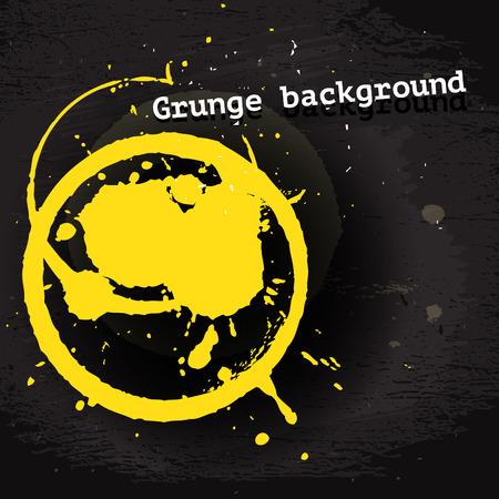 graffity: Yellow vector round blot on dark grunge wtyle background, design template illustration Illustration