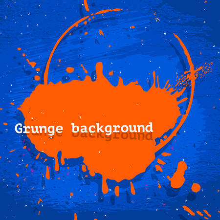 Blue and orange neon grunge vector background, dust stained acid colored backdrop illustration, design template for poster, banner or flyer  Vector