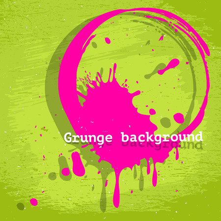 Grunge pink and green acid color vector background with round stain, template graphic design Vector