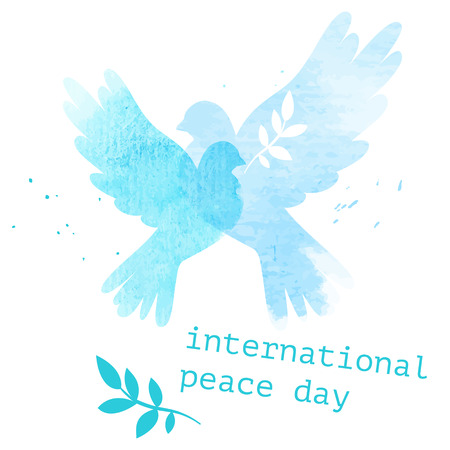 International day vector postcard illustration with two watercolor doves Ilustração