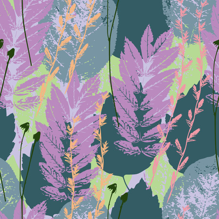 pastel colored: Nature vector leaf background in grunge style, pastel colored seamless pattern