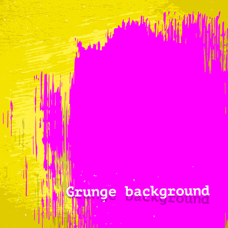 Neon pink brush stain on yellow grunge style background, vector illustration, template for design Vector
