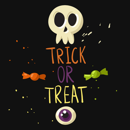 tricks: Trick or treat postcard with skull, eyeball and candies Illustration