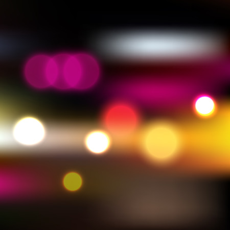 neon lights: Vector blurry background with car lights