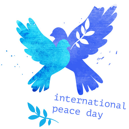 Watercolor vector blue dove postcard for international peace day