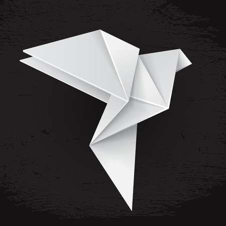 3d dove: White origami paper dove on black grunge background, sign of peace Illustration