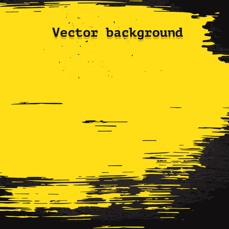 Geel vector penseel vlek op donkere vuile muur achtergrond in grunge stijl