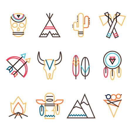native american tomahawk: Vector tribal colorful icon set in flat simple line style, indian native american culture