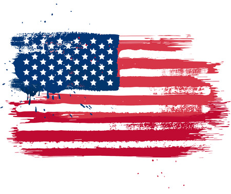 Vector isolated USA flag in grunge style