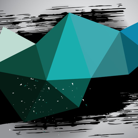 3d shape: turquoise triangle mesh motion background with grunge black dab, template backdrop for poster design or  banner