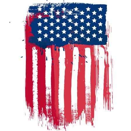 julio: Bandera americana composición vector vertical en el estilo grunge
