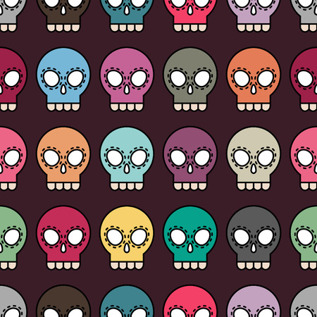 Halloween vector colorful seamless skull pattern background Vector