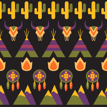 wigwam: Native american seamless vector colorful pattern, indigenous background illustration with dreamcatcher, fire, animal skull, wigwam and cactus Illustration