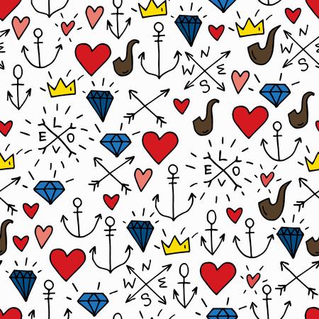 Sea doodle hipster achtergrond, kleurrijke naadloze geïsoleerde hand getekende patroon met diamanten, pijpen, rode harten, kronen en ankers