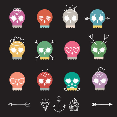 Vector cute colorful skull icon set with different elements on black background Vector