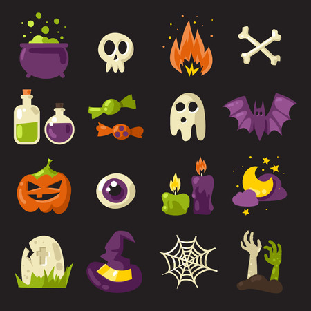 big icons: Halloween vector colorful big icons set