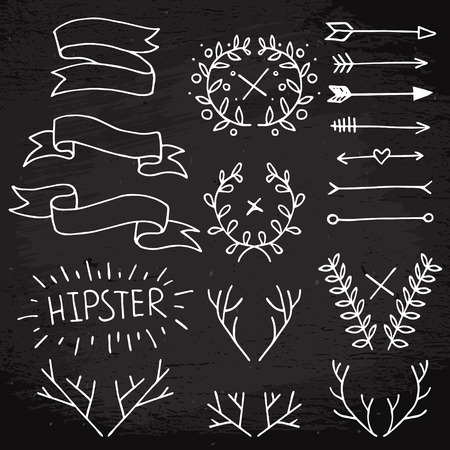 Hipster white elements set on black textured background, ribbons, horns and antlers, floral wreath and arrows Vector
