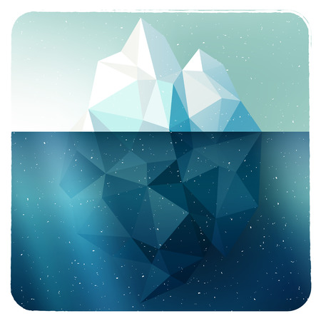 Arctic iceberg vector picture in grunge white frame with snow illustration Vector