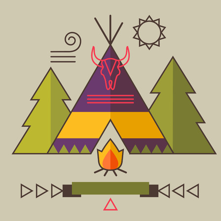 wigwam: Indian Americans vector illustration picture with wigwam, fir tree, bonfire, animal skull and ribbon