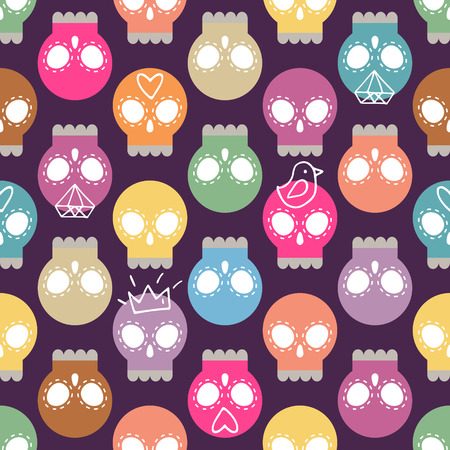 Vector pastel colored skull background, seamless pattern with hand drawn elements: crown, bird, diamond, heart  shape  Vector