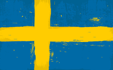 Vector Swedish flag in grunge damaged textured Çizim