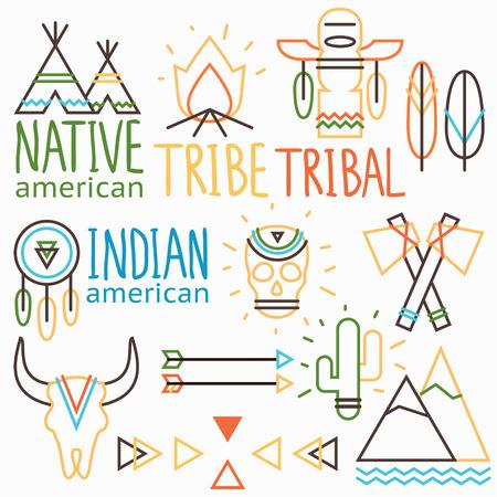 native indian: Etiquetas tribales del vector esquema establecen, s�mbolos americanos indios nativos: cr�neo humano y animal, flecha, pluma, hoguera, cactus, tienda india, atrapasue�os, hacha de guerra, monta�a